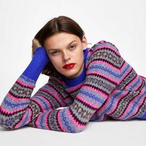 ZARA Jacquard Sweater Aztec Tribal Print Design